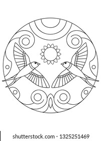 Pattern with Swallow. Illustration with a swallows. Mandala with an animal.  Swallow in a circular frame. Coloring page for kids and adults.