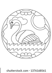 Pattern with swan. Illustration with a swan. Mandala with an animal. Swan in a circular frame. Coloring page for kids and adults.