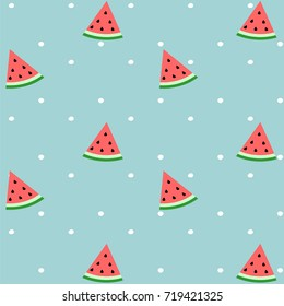 Pattern of sweet juicy pieces watermelon, watermelon slices with seed Vector background, illustration eps 10