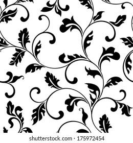 Pattern with swirls and foliage