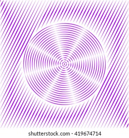 Pattern with symmetric geometric ornament. Purple violet sharp lines and round spheres abstract background. 3d optical illusion effect wallpaper. Vector illustration