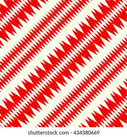 Pattern with symmetric geometric ornament. Red curves with fine cuts abstract background. Ornament picture wallpaper. Vector illustration