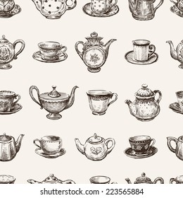 pattern of the teacups and teapots