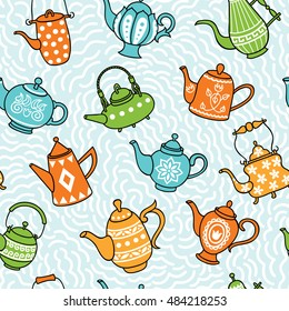 Pattern from teapots on a blue background. Seamless pattern.