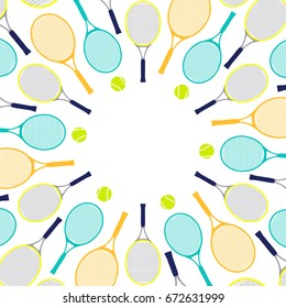 Pattern with tennis rackets and balls.Invitation card.