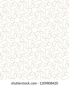 Pattern with thin curl lines and scrolls. Seamless Monochrome abstract floral vector background. Decorative arabic  lattice.