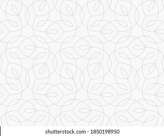 Muster mit dünnen Linien und stilisierten Blättern auf weißem Hintergrund. Monochrome abstrakte, florale lineare Textur. Nahtloses Vektordesign. Modernes Muster für Armbanduhren, Stoff, Umhüllung im arabischen Stil.