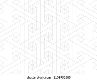 Pattern with thin lines, poligons and geometric shapes. Seamless linear swatch. Stylish white texture. Abstract arabic background.