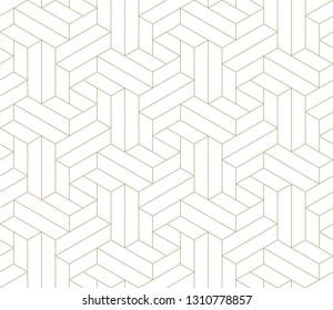 Muster mit dünnen, gerade goldenen Linien und geometrischen Formen auf weißem Hintergrund. Abstrakte lineare, stylische Textur. einfarbiger, moderner Hintergrund. Lineare grafische Abbildung. Weiße Textur.