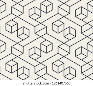 Pattern with thin straight lines and geometric shapes on white background. Abstract linear stylish texture. Monochrome modern background. Linear graphic illustration.
