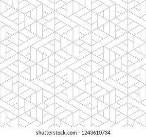 Pattern with thin straight lines, triangles  and geometric shapes. Abstract linear stylish texture. Monochrome modern background in white and grey color. Linear graphic illustration.