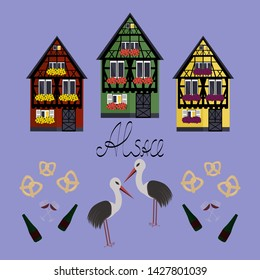Pattern with three houses in Alsaces style. Green, yellow and red houses in Alsaces style.