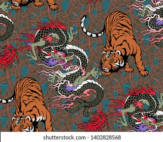 Pattern of tiger and dragon. Suitable for fabric, wrapping paper and the like. Vector illustration