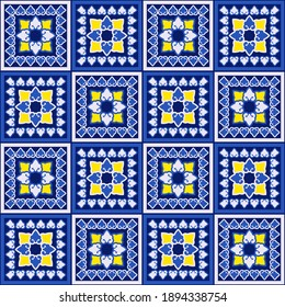 Pattern with tile. Oriental ornament. For decoration of kitchens, baths and other rooms. Vector illustration for web design or print.
