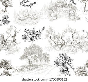 Pattern in toile de jouy stile with countryside landscapes with house, trees, ducks.
