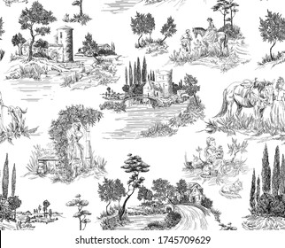 Pattern in toile de jouy stile with landscape with castles, river and houses and trees, walking people, woman with flowers, horse, black and white