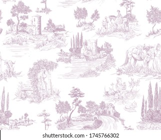 Pattern in toile de jouy stile with landscape with castles, river and houses and trees, walking people, woman with flowers, horse in pink color