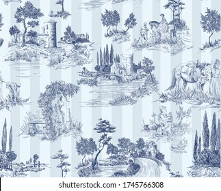 Pattern in toile de jouy stile with landscape with castles, river and houses and trees, walking people, woman with flowers, horse blue color with stripes