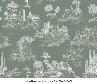 Pattern in toile de jouy stile with landscape with castles, river and houses and trees, walking people, woman with flowers, horse in green and white color