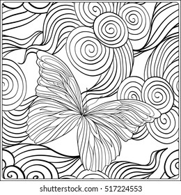 Pattern with traditional Japanese motifs, butterflies and love hearts. Coloring book for adult. Outline drawing coloring page. Stock line vector illustration.