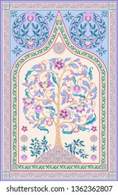 Pattern with tree of life in retro, vintage style. Jacobean embroidery. Colored vector illustration In pink, blue, ultraviolet colors. Persian, indian carpet  motif.