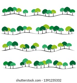 pattern of trees, row of trees . Vector illustration