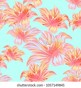 Pattern of tropical flowers. Vector design.  Hand drawing.