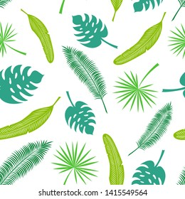 Pattern of tropical leaves: palm leaves, banana leaves. Isolated objects on white background. Images for your decor and design. Textile. Print. Seamless ornament.