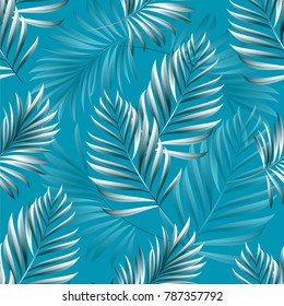 Pattern of tropical palm, leaves of the jungle. Vector floral pattern.