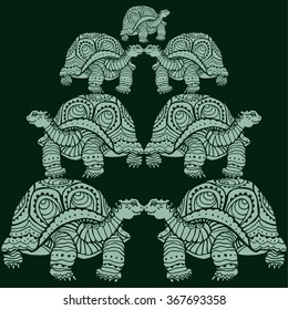 pattern with turtles. pyramid. light on a dark background