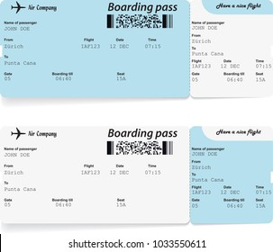 Pattern of two modern airline boarding pass tickets for traveling by plane. Vector illustration.
