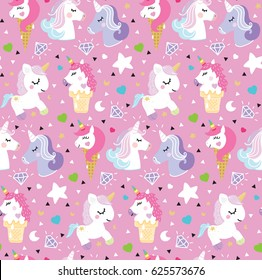 Pattern unicorn pony ice cream triangle