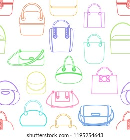 Pattern from various fashionable women s handbags of different colors. Linear style.