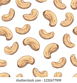 Pattern of vector colorful illustrations on the nutrition theme; set of cashews. Realistic isolated objects for your design.