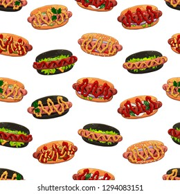 Pattern of vector colorful illustrations on the fast food theme; set of different kinds of hotdogs. Isolated objects for your design.