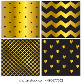 Pattern vector gold and black color with dots and hearts