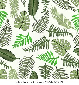 Pattern and vector illustration of tropic leaves