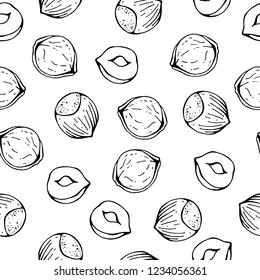 Pattern of vector illustrations on the nutrition theme; set of hazelnuts. Realistic isolated objects for your design.