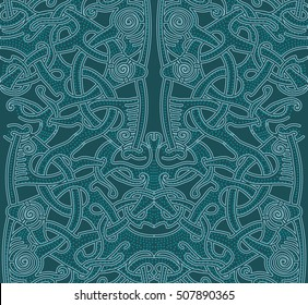 Pattern Vikings. Pattern background blue. Abstract cute pattern with hand drawn elements. Seamless abstract pattern for printing on fabric or paper. Celtic knots. Texture.