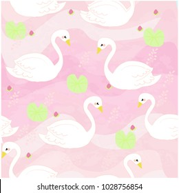 Pattern Vintage cute adorable white swan pastel vector background illustration by hand draw doodle cartoon comic style,invitation card