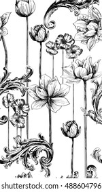 Pattern with water lily flower and rococo scrolls in black and white outline