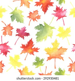 Pattern of watercolor autumn leaves. All object made in vector. Each one is separately.
