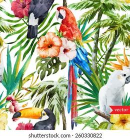 pattern, watercolor, flowers, tropical, jungle, toucan, macaw, parrot, magnolias, palms
