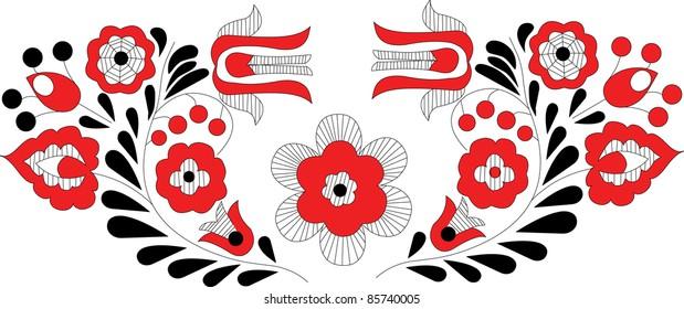pattern whit decorative flowers, Hungarin motive