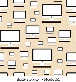 Pattern of white computer monitor on light background as wallpaper for websites, griffin and design.