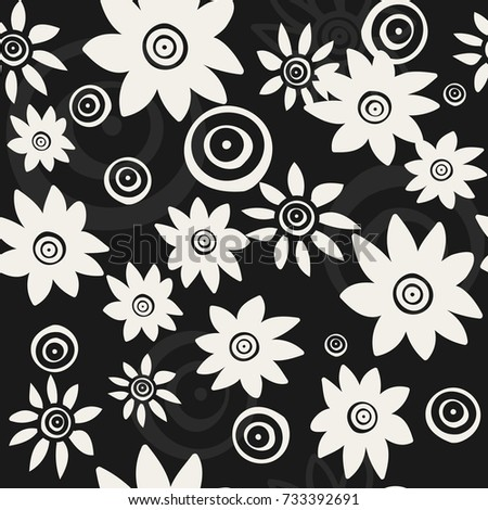 Pattern White flowers on a black background. For your design. Vector.