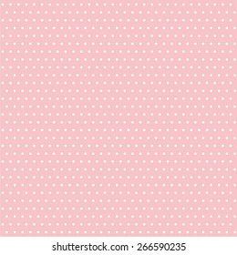 Pattern of white spots or polka dots on pink background