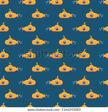 Pattern yellow submarine underwater