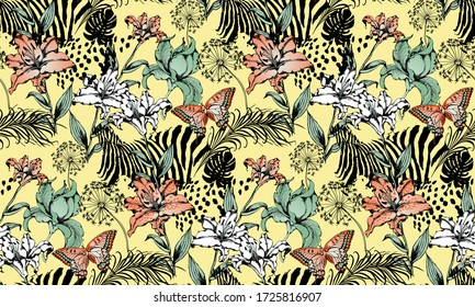 Pattern of zebra and leopard. Suitable for fabric, wrapping paper and the like. Vector illustration