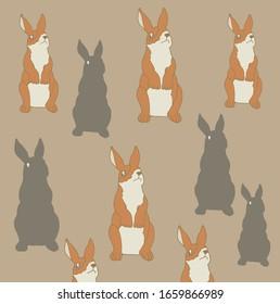 Pattern,brown white rabbit,cute brown background
